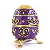 Apropos Hand- Painted Rich Purple Vintage Style Faberge Egg with Gold Finish, Rhinestones, Enamel Jewelry Trinket Box