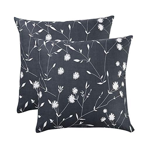 Wake In Cloud - Pack of 2 Pillow Cases, 100% Cotton Pillowcases, Dark Gray Grey with White Floral Flowers and Tree Branches Leaves Pattern Printed (European Size, 26x26 Inches)
