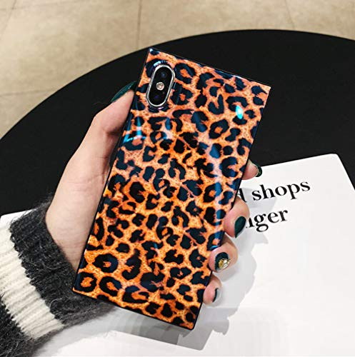 iPhone X Case, iPhone Xs Case, Ebetterr Leopard Square Protective Cover Shell, Slim Fit Anti Scratch Shockproof Soft TPU Bumper Flexible Rubber Gel Silicone Case for iPhone Xs 5.8 inch 2018 Release