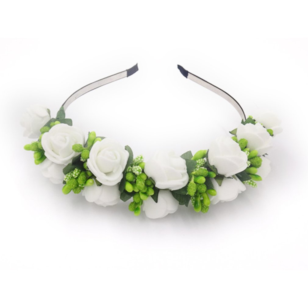YAZILIND Elegant bijoux Crown Couronne bandeau artificiel Ivoire fraise fleurs vert étamines élégante décoré coiffure accessoire de mariage coiffe pour les femmes filles YAZILIND JEWELRY LIMITE 1205T0001-WG