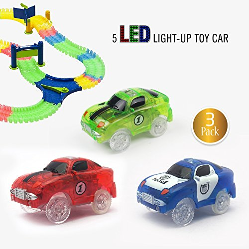[3-pack] Race Car Track Set w/ 5 LED Lights | Independent & Track Play | Replacement GREEN + POLICE + RED Toy Racing light-up Cars | Track Accessories (Glow Racing Wheel)