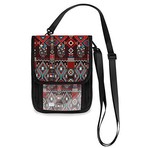 ALAZA Indain Native American Striped Travel Pouch Stash Neck Passport Holder Organizer Wallet for Women Men (Neck Pouch Native American)