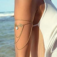 ERAWAN Women Fashion Tassel Chain Turquoise Bead Upper Arm Cuff Armlet Armband Bracelet sakcharn