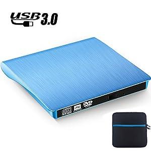 TOPCHU External DVD Drive USB 3.0 with Protective Storage Case, CD DVD-RW DVD ROM Drive DVD Burner Reader Writer Rewriter for Win10/Win8/ Apple Macbook Pro Air iMAC Desktop Laptop Notebook Blue