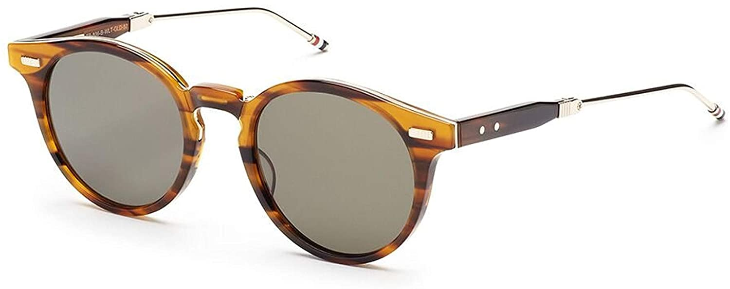 7e684224cab THOM BROWNE TB 806 B-WLT-GLD Walnut-12K Gold w  G15-AR Sunglasses at Amazon  Men s Clothing store