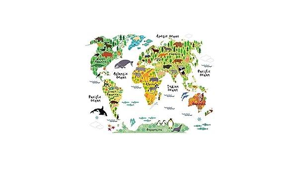 Treof Life - Adhesivo Decorativo para Pared, diseño de Mapa del ...