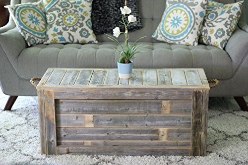 - Natural Unfinished Coffee Table with Rope Handles
