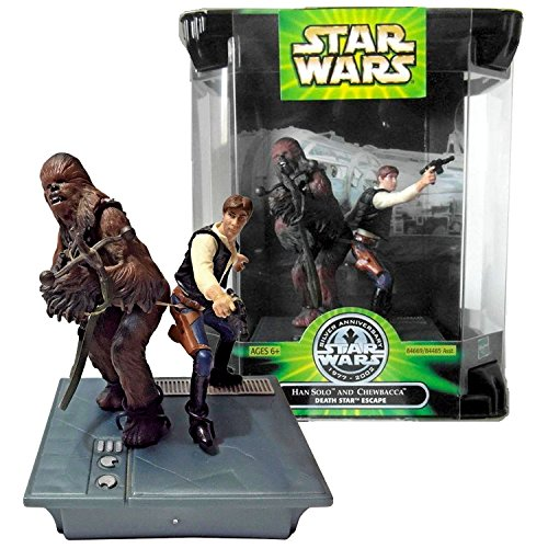 Star Wars Year 2002 Silver Anniversary Series 2 Pack 4 Inch Tall Figure Set - Death Star Escape HAN SOLO with Blaster and CHEWBACCA with Bowcaster Plus Display Base