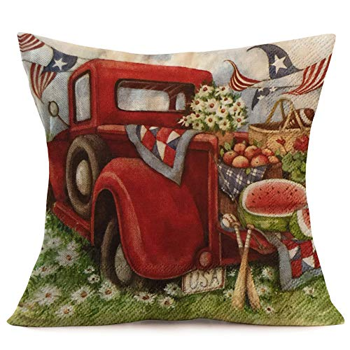 Asamour Vintage Oil Painting Red Truck Pillow Covers Patriotic American Flag with Delicious Food Daisy Cotton Linen Throw Pillow Case Cushion Cover 18''x18'',Driving a USA Travel Truck for a Picnic