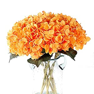 Louiesya Pack of 3 Artificial Hydrangea Silk Flowers Bouquet Faux Hydrangea Stems for Wedding Centerpieces Home Decor(Orange) 32