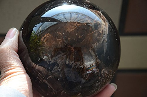 Giant Tibet Himalayan High Altitude Clear Smoky Crystal Quartz Ball Sphere Orb 3.97 Inch Spiritual Reiki Healing ()