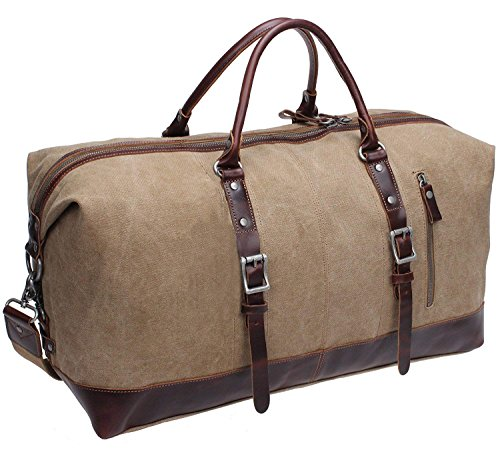 Shoulder Handbag Double (Iblue Genuine Leather Trim Travel Tote Duffel Garment Gym Shoulder Handbag Canvas Overnight Weekender Bag Large#B003(Xl 21'', Light Coffee))