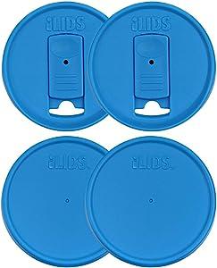 iLIDS Mason Jar Drink and Storage Lids, Regular Mouth, Sky Blue, Pack of 4