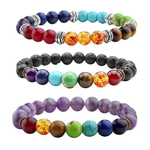 Top Plaza Mens Womens Natural Gemstone 8MM Round Beads Healing Crystals Reiki Chakra Balancing Stretch Bracelets(Lava Stone/Amethyst/7 Chakras) (Bead Rainbow Bracelet)
