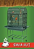 """Java Hut Haven Stainless Steel Small Bird Cage - Perfect for Parrots, Parakeets, Cockatiels, Finches, Canaries, Conures, Budgies - 27''W x 18""""D x 56.5''H - - Cage with 2 Exterior Feeders"""