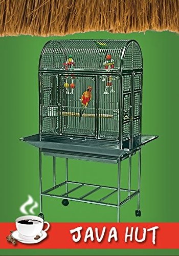 "Java Hut Haven Stainless Steel Small Bird Cage - Perfect for Parrots, Parakeets, Cockatiels, Finches, Canaries, Conures, Budgies - 27''W x 18""D x 56.5''H - - Cage with 2 Exterior Feeders by BirdCages4Less"