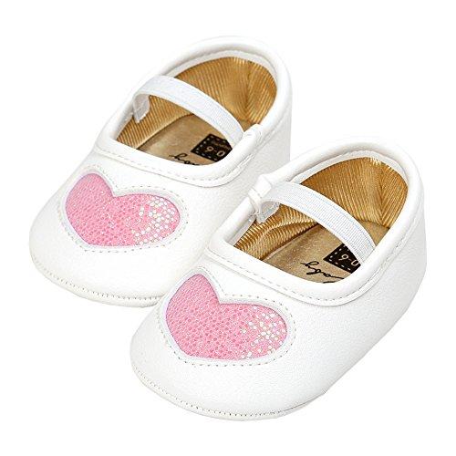 (LINKEY Baby Girls Sequins Heart Christening Baptism Mary Jane Wedding Princess Dress Shoes Crib Shoes Pink Size L)