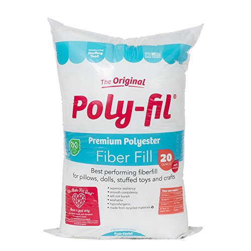 Fairfield The Original Poly Fil Premium 100  Polyester Fiber Fill Bag  20 Ounces  White