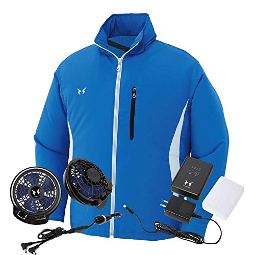 空調風神服 サンエス フード付スタッフジャンパーファンバッテリーセット ku90525s ファン/ブラック B07289WT2R XL|4ブルー 4ブルー XL