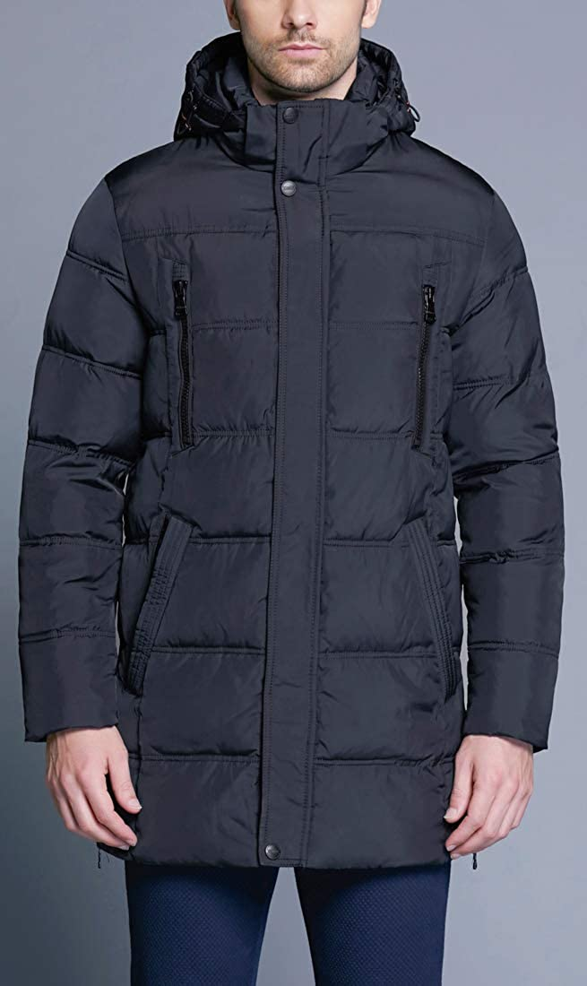 ICEbear Mens Winter Thicken Coat Long Quilted Puffer Jacket with Hood