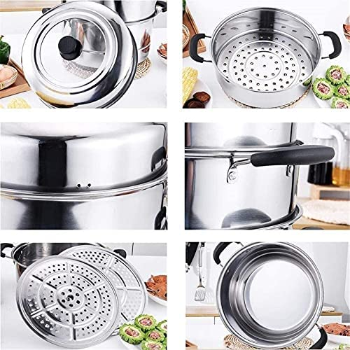 """5106z0N1fOS. AC Pans for cooking Glass Lid Steamer Food Steamer Set 3 Tier Cooking Stainless Steel Steamer Induction Cooker General Gas Pot (Size: 28cm) (Size : 32cm) (Size : 28cm)    """"Welcome to our mallHappy shopping!Our products have been thoroughly tested, inspected and packaged before delivery.If you have any questions, please feel free to contact us so that we can provide you with the best service.""""NJOLG is committed to providing premium and long-lasting cookware, which inspires your passion for cooking.Heating method: charcoal cooker induction cooker gas cooker electric ceramic cooker, etc.?Easy to clean Safe for health Comfortable handle to keep cold Suitable for all hobs, including induction does not absorb odors and flavors safe for children and allergy sufferers durable and heat resistant Electrolytic polishing treatment in the pot: anticorrosion resistant to wear hygienic and healthy.?Material: food grade stainless steel Product process: mirror polishing process Product features: steaming under the steam / time saving and energy saving Applicable scene: kitchen / restaurant etc.?Applicable cooker: universal The lid design: seeing cooking is easier to grasp the heat of the food.?Antioverflow vent hole: helps eliminate steam and effectively prevents burns on the hands.?Steaming sheet design with two pieces of steaming pads the pot is convenient and practical for steaming.?Freestanding steaming grill freestanding the design of the steaming grill also flows delicious and has no smell.?If you are not satisfied with our products, please feel free to contact us, we will contact you within 24 hours. For more related product details, please search for """"WFGS725S""""."""
