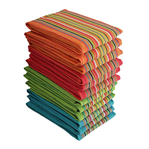 Kitchen Dish Towels, 100% Natural Cottton Kitchen Towels with Waffle Design (Size 16x28 Inches) for Kitchen Décor, Super Absorbent, Multi Color, (Best Towel For Kitchens)