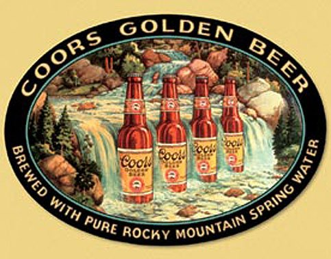 Coors Silver Beer Bottles in Waterfall Tin Sign 13 x 16in (Coors Waterfall)
