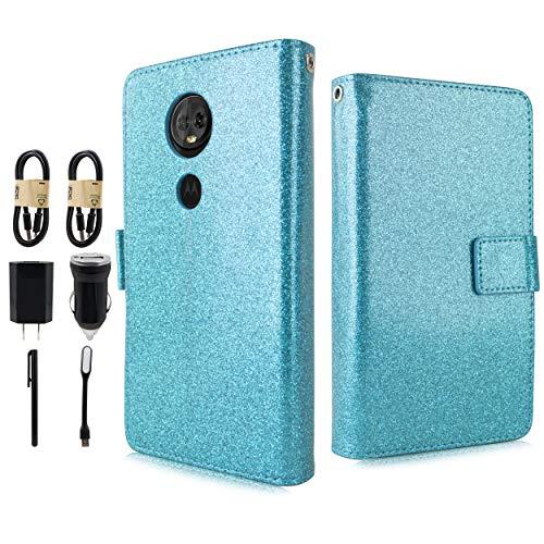 Compatible for Moto E5 Play Case, Moto E5 Cruise Case, 6goodeals Glitter Shiny Folio PU Leather Flip Cover Credit Card Slot Protective Case [Accessory Bundle] (Teal)