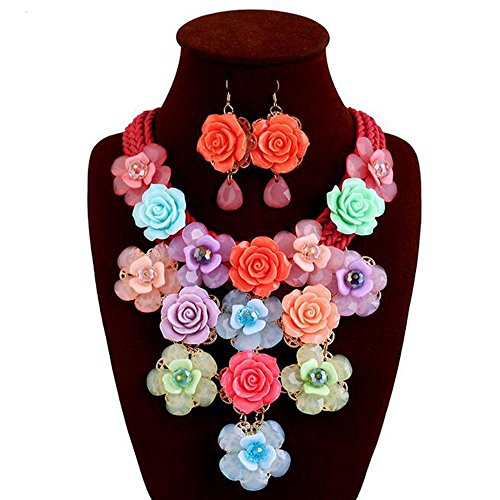 DB&PEISHI Colored gem flower tassel braid rope, exaggerated necklace earring Set , 1