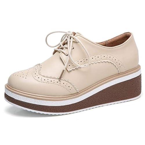 aead905fd34 Plataforma Plana De Las Mujeres Zapatos Casuales Primavera OtoñO Brogue  Pisos De Cuero con Cordones Mujer CuñAs Planas Oxford Calzado: Amazon.es:  Zapatos y ...