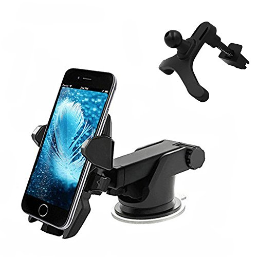 Car Phone Mount,Wuedozue 2 in 1 Universal Windshield Dashboard [360 Rotating+Adjustable Distance] Air Vent Car Mobile Phone Holder with Sucker for iPhone X/8/7/Samsung Galaxy S8 and More (Black)