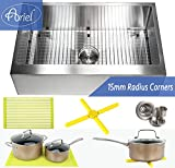 Kitchen Appliance Packages Luxury Ariel 33 Inch Farmhouse Apron Front Stainless Steel Kitchen Sink Package - 16 Gauge Flat Front Single Bowl Basin - Complete Sink Pack + Bonus Kitchen Accessories - Ideal For Home Improvement