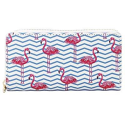 Kukoo Women Leather Long Zipper Wallet Flamingo Print Clutch Purse Credit Card Holder