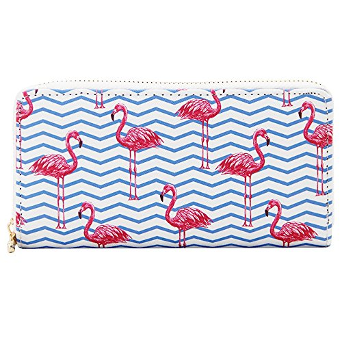 Kukoo Women Leather Long Zipper Wallet Flamingo Print Clutch Purse Credit Card Holder