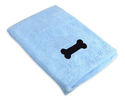 DII Bone Dry Microfiber Dog Bath Towel with Embroidered Bone - 44x27.5 - Blue
