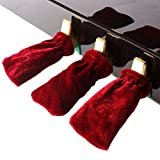 Andoer 3pcs Piano Sustain Pedal Cover Pleuche Universal Red