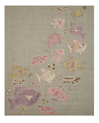 Eorc Wool (EORC T139GY4X6 Hand Tufted Wool Kid's Fish & Turtle Rug, 4' by 6',)