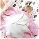 Kids Knitted Cotton Blankets Crochet Adorable Bunny Pattern Newborn Play Mat Baby Bedding Cover Animal Room Decor Toddler Cuddle Blankets with Rabbit Ears Tails(Pink)
