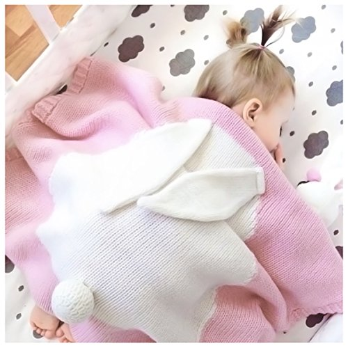 Kids Knitted Cotton Blankets Crochet Adorable Bunny Pattern Newborn Play Mat Baby Bedding Cover Animal Room Decor Toddler Cuddle Blankets with Rabbit Ears Tails(Pink) by Parkside wind