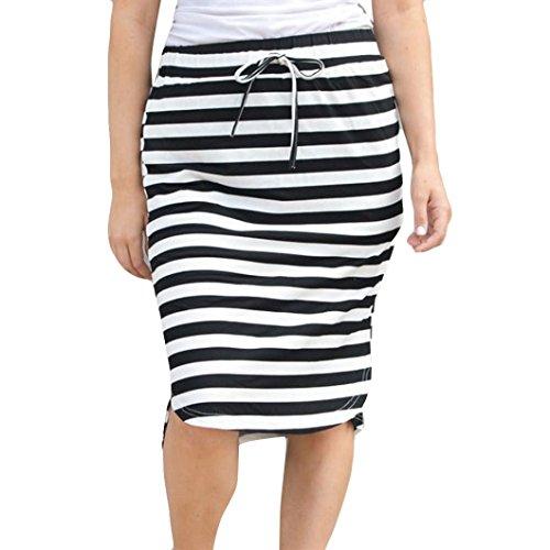 (MiniSkirt Womens Fashion Stripe Hight Waist Maxi Mini Skirt)