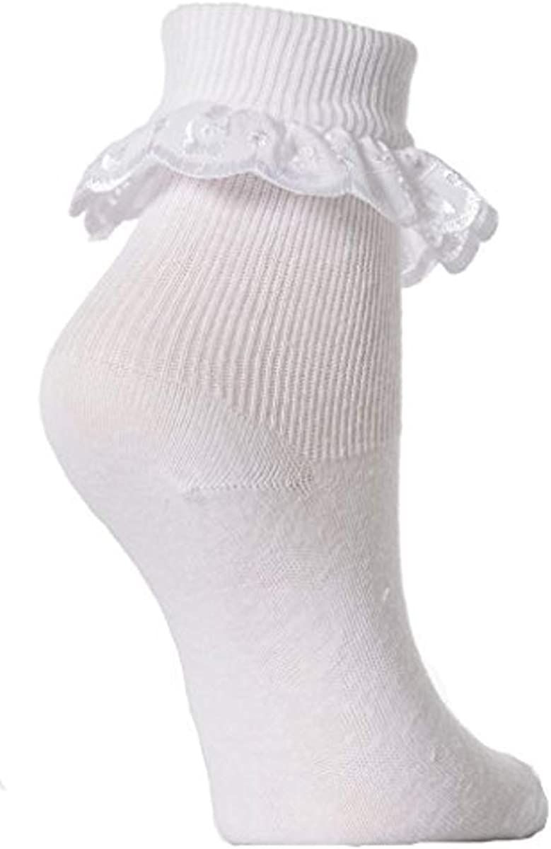 Pack of 3 , White Age: 13+ years 4-5.5 White Age: 6-18 months 3-5 Baby//Girls Extra Soft Frilly Lace Top Socks