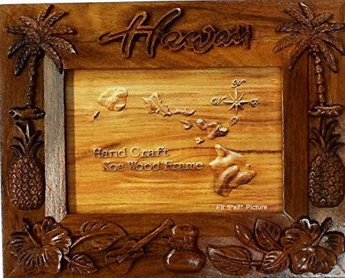Handcraft Photo Frame - Koa Wood Picture Frame Hawaiian Design Pineapple With Plum Tree Design