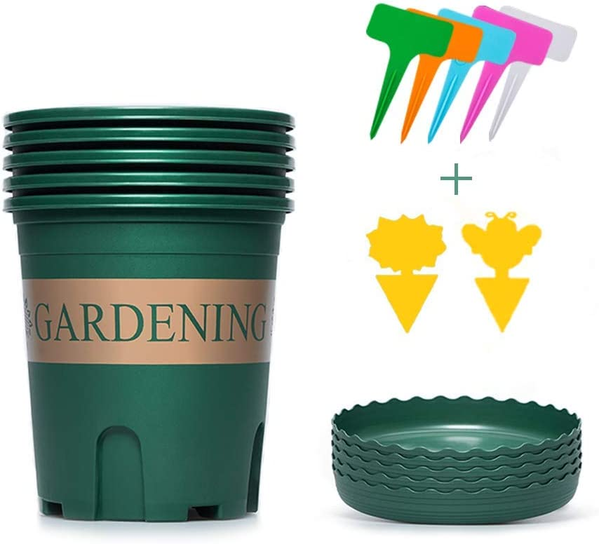 5 set Planter Nursery Pots with Drainage Hole Tray 6.3 Inch Gallon Root Control Flower Pots with 5 Labels 2 Yellow Sticky Plastic Garden Pot Container for Plants Indoor Outdoor Vegetables (Dark Green)