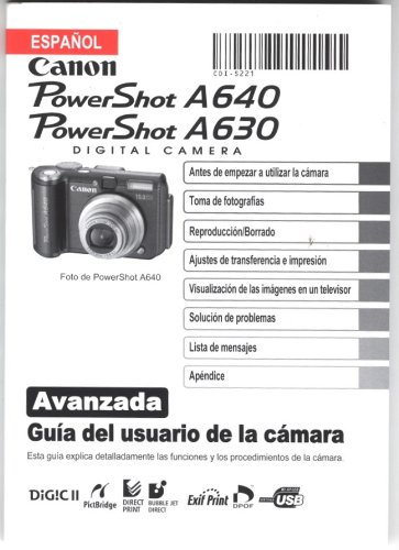 Canon PowerShot A640 PowerShot A630 Advanced Camera User Guide (Spanish)