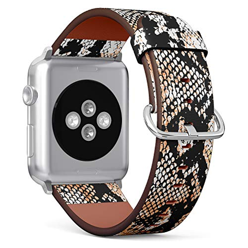 (Snake Skin Pattern) Patterned Leather Wristband Strap for Apple Watch Series 4/3/2/1 gen,Replacement for iWatch 42mm / 44mm Bands