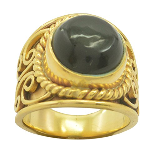 Natural Black Onyx Ring Gold Plated Round Shape Astrological Statement Cabochon Size 5,6,7,8,9,10,11,12 Genuine Round Black Onyx Ring
