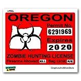 Oregon OR Zombie Hunting License Permit Red - Biohazard Response Team - Window Bumper Locker Sticker