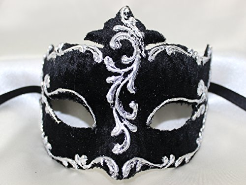 Ladies Stunning Black Silver Velvet Colombina Half Face Venetian masquerade Mask with exquisite gold trim