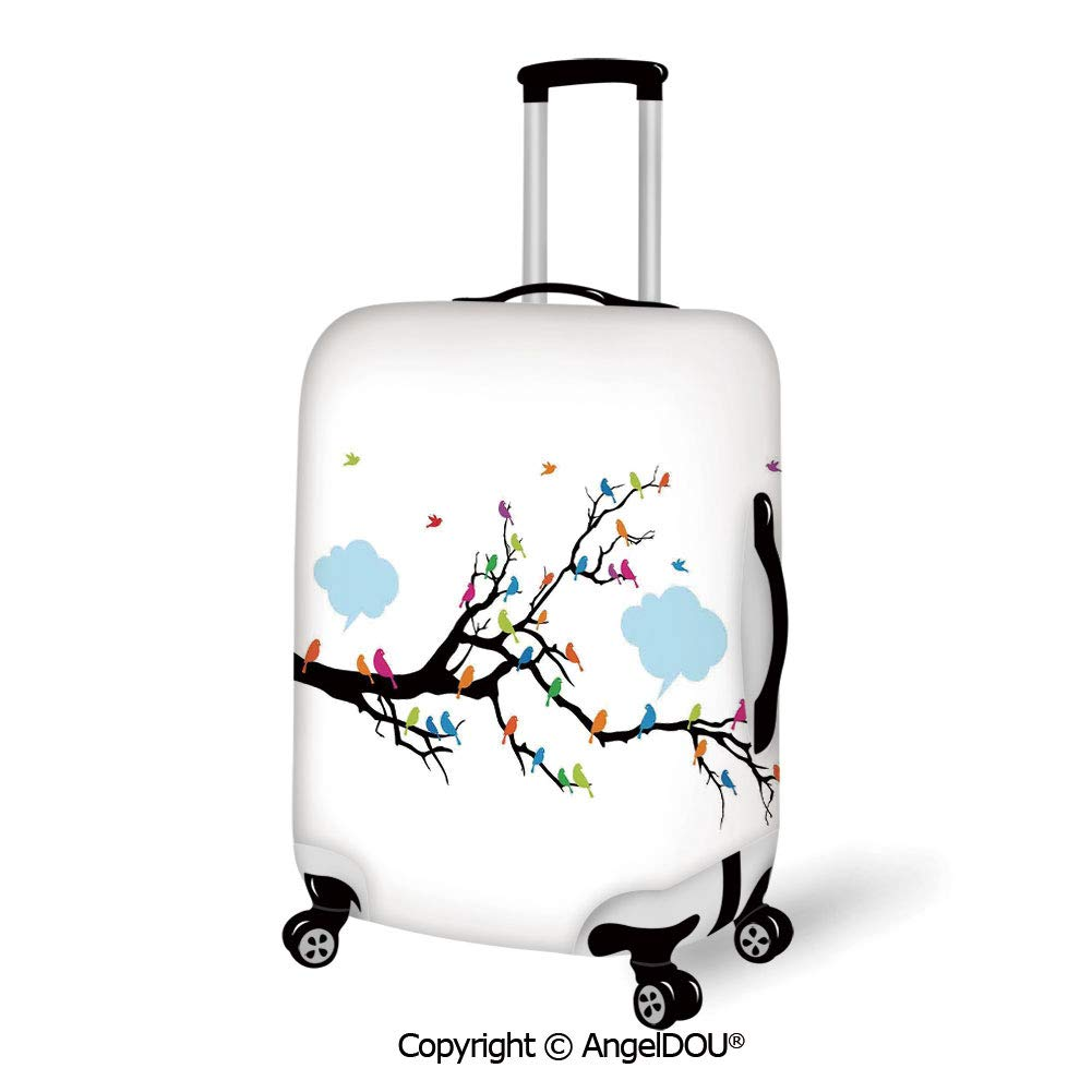 AngelDOU Luggage Suitcase Elastic Protective Covers Leaves Fresh Leaves on Wooden Background Retro Home Office Design Artwork Decorative Red Purple Green for men women travel business.