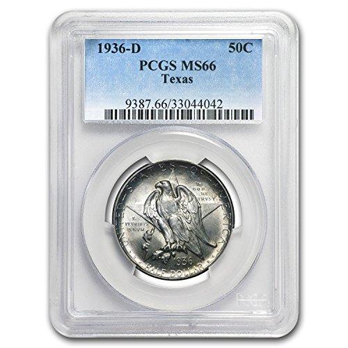 1936 D Texas Independence Centennial Half Dollar MS-66 PCGS Half Dollar MS-66 - Texas Silver Rounds